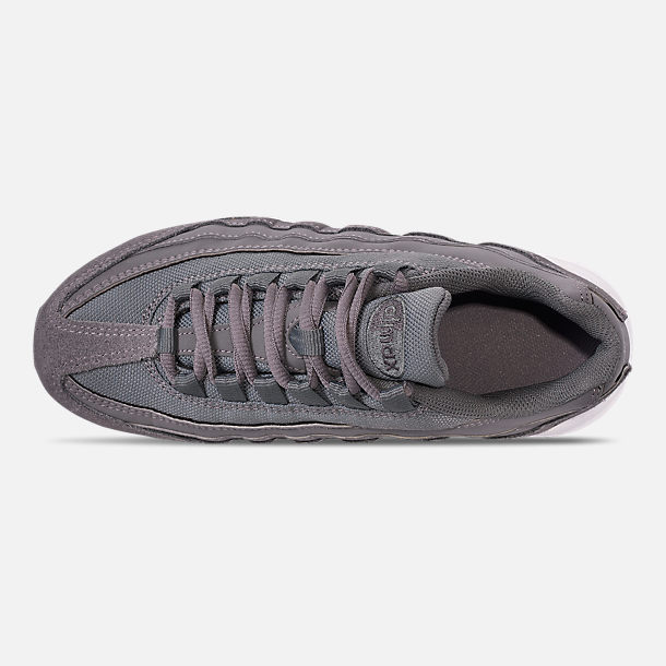Top view of Boys' Big Kids' Nike Air Max 95 PE Casual Shoes in Cool Grey/Dark Grey/Pale Ivory