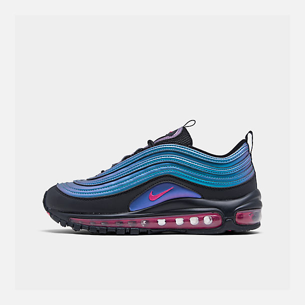 Right view of Big Kids' Nike Air Max 97 MM Casual Shoes in Black/Laser Fuchsia