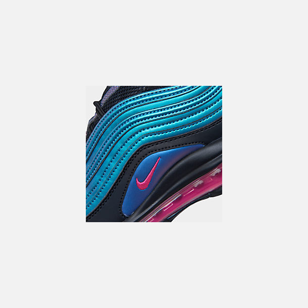 Front view of Big Kids' Nike Air Max 97 MM Casual Shoes in Black/Laser Fuchsia