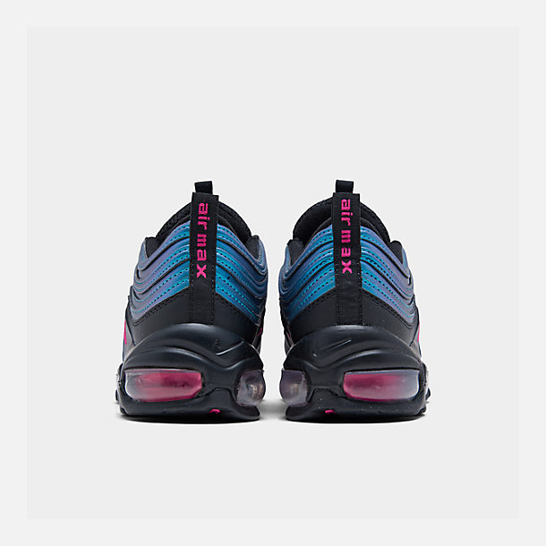 Left view of Big Kids' Nike Air Max 97 MM Casual Shoes in Black/Laser Fuchsia