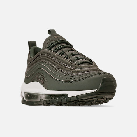 Three Quarter view of Boys' Big Kids' Nike Air Max 97 PE Casual Shoes in Mineral Spruce/Pale Ivory