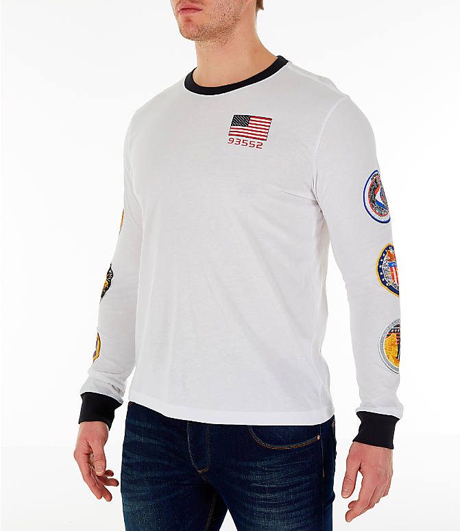 Front Three Quarter view of Men's Nike PG 3 x NASA Long-Sleeve T-Shirt in White