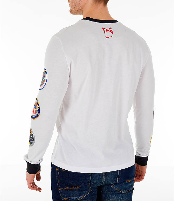 Back Left view of Men's Nike PG 3 x NASA Long-Sleeve T-Shirt in White