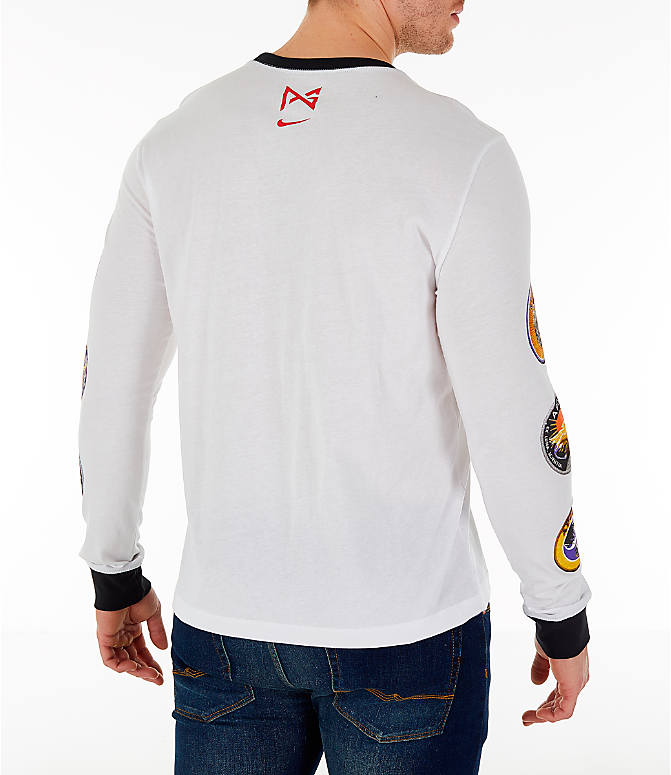 Back Right view of Men's Nike PG 3 x NASA Long-Sleeve T-Shirt in White