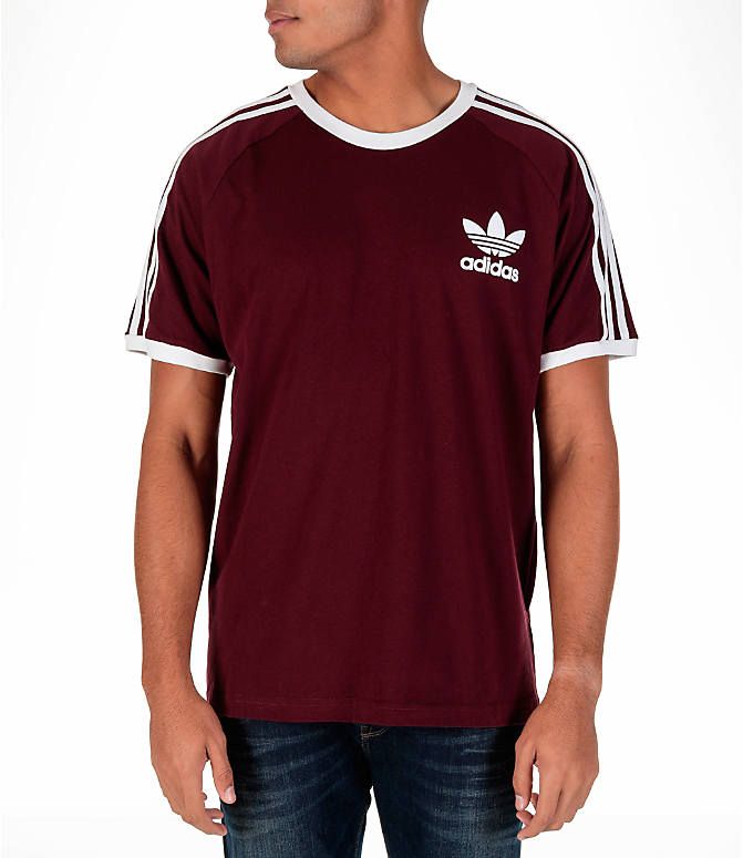 Front view of Men's adidas Originals CLFN T-Shirt in Maroon
