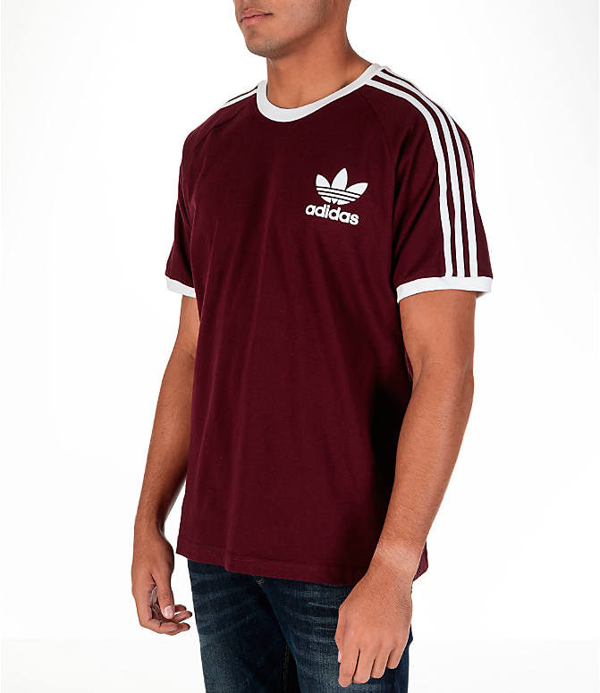 Front Three Quarter view of Men's adidas Originals CLFN T-Shirt in Maroon