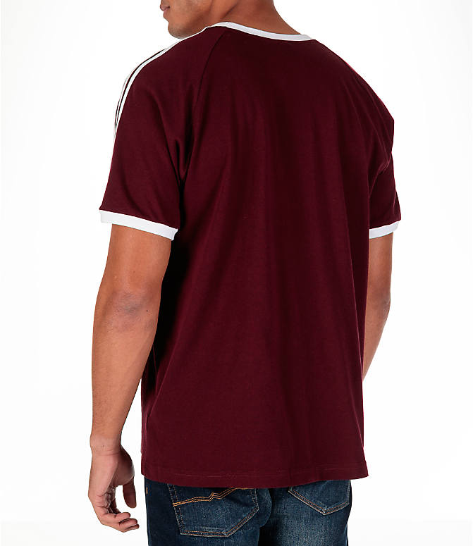 Back Left view of Men's adidas Originals CLFN T-Shirt in Maroon