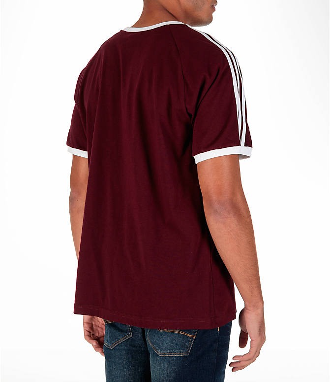 Back Right view of Men's adidas Originals CLFN T-Shirt in Maroon