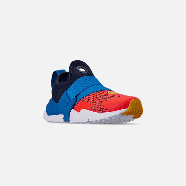 Three Quarter view of Boys' Big Kids' Nike Huarache Extreme Now Casual Shoes in Obsidian/Amarillo/Photo Blue