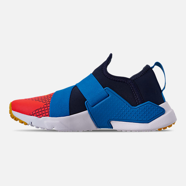 Left view of Boys' Big Kids' Nike Huarache Extreme Now Casual Shoes in Obsidian/Amarillo/Photo Blue
