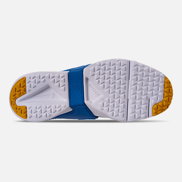 Bottom view of Boys' Big Kids' Nike Huarache Extreme Now Casual Shoes in Obsidian/Amarillo/Photo Blue
