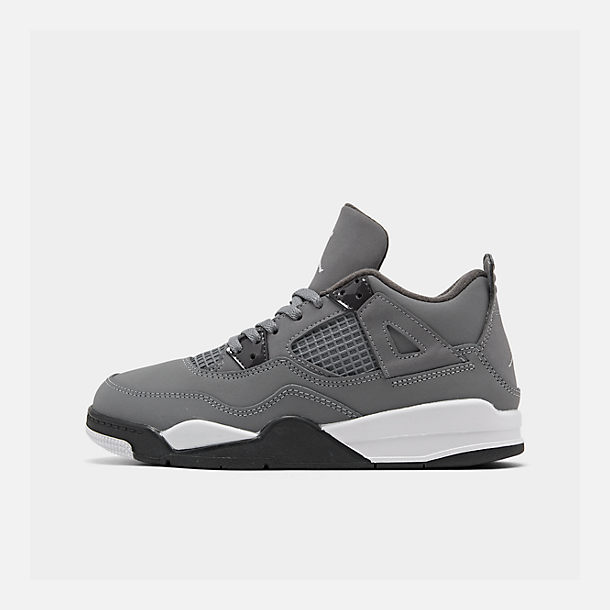 Right view of Little Kids' Air Jordan Retro 4 Basketball Shoes in Cool Grey/Chrome/Dark Charcoal