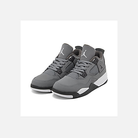 Three Quarter view of Little Kids' Air Jordan Retro 4 Basketball Shoes in Cool Grey/Chrome/Dark Charcoal