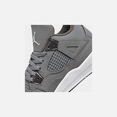 Front view of Little Kids' Air Jordan Retro 4 Basketball Shoes in Cool Grey/Chrome/Dark Charcoal