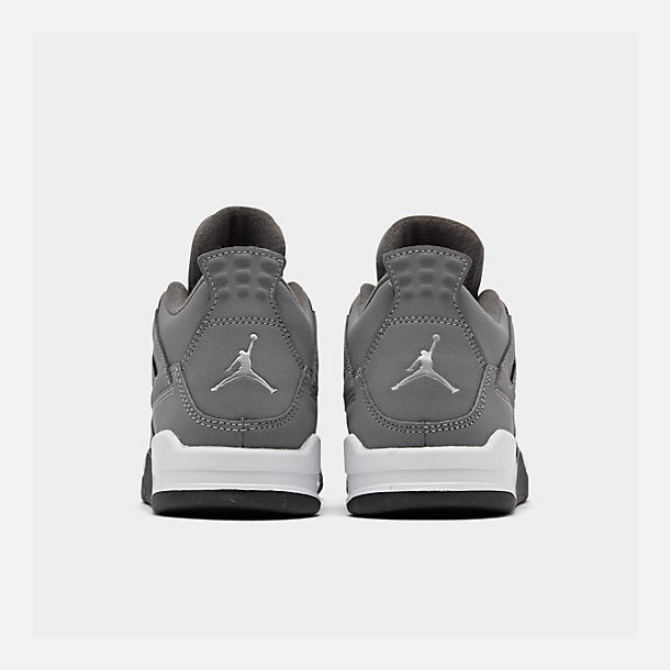 Left view of Little Kids' Air Jordan Retro 4 Basketball Shoes in Cool Grey/Chrome/Dark Charcoal