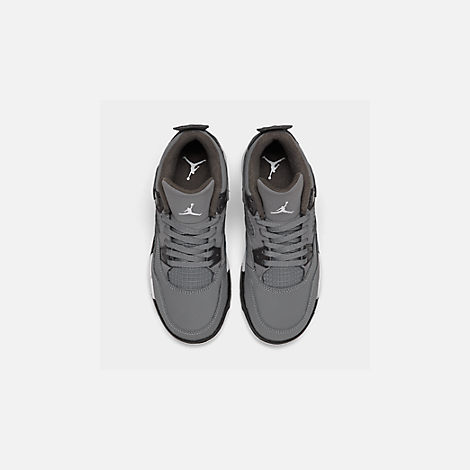 Back view of Little Kids' Air Jordan Retro 4 Basketball Shoes in Cool Grey/Chrome/Dark Charcoal