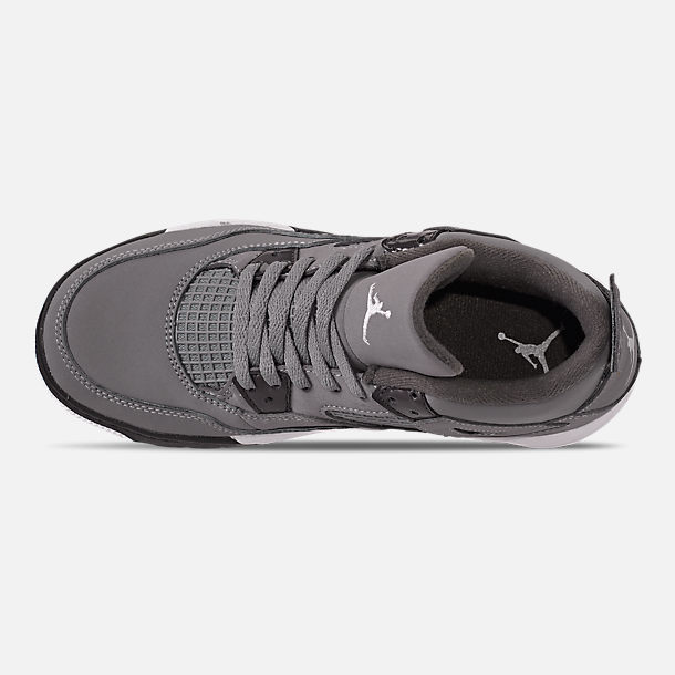 Top view of Little Kids' Air Jordan Retro 4 Basketball Shoes in Cool Grey/Chrome/Dark Charcoal