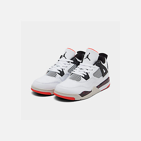 Three Quarter view of Little Kids' Air Jordan Retro 4 Basketball Shoes in White/Black/Bright Crimson/Pale Citron
