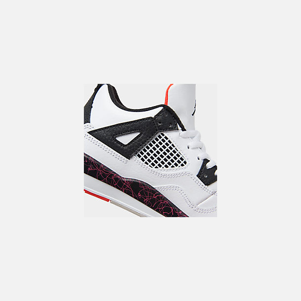 Front view of Little Kids' Air Jordan Retro 4 Basketball Shoes in White/Black/Bright Crimson/Pale Citron