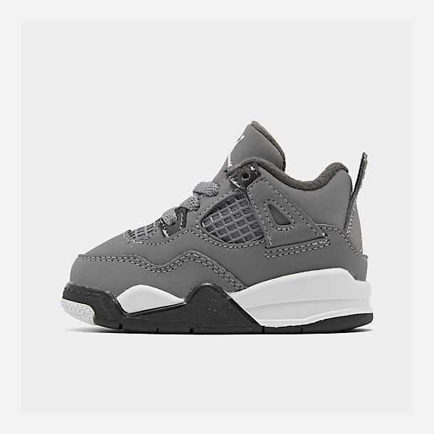 Right view of Kids' Toddler Air Jordan Retro 4 Basketball Shoes in Cool Grey/Chrome/Dark Charcoal