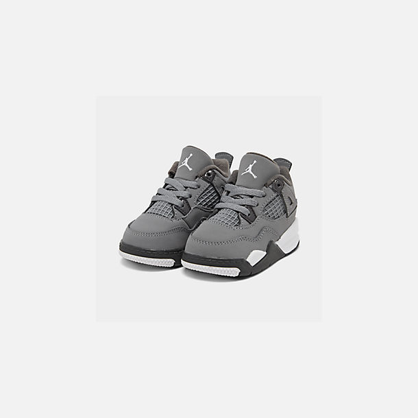 Three Quarter view of Kids' Toddler Air Jordan Retro 4 Basketball Shoes in Cool Grey/Chrome/Dark Charcoal