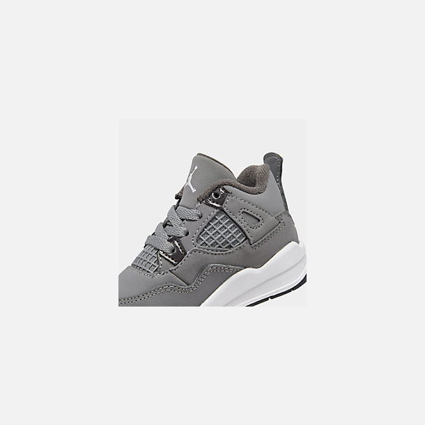 Front view of Kids' Toddler Air Jordan Retro 4 Basketball Shoes in Cool Grey/Chrome/Dark Charcoal