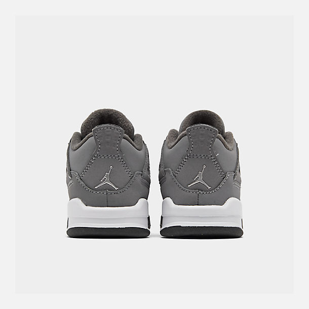 Left view of Kids' Toddler Air Jordan Retro 4 Basketball Shoes in Cool Grey/Chrome/Dark Charcoal