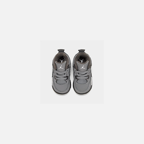 Back view of Kids' Toddler Air Jordan Retro 4 Basketball Shoes in Cool Grey/Chrome/Dark Charcoal