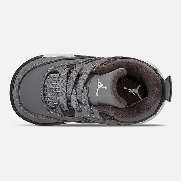 Top view of Kids' Toddler Air Jordan Retro 4 Basketball Shoes in Cool Grey/Chrome/Dark Charcoal