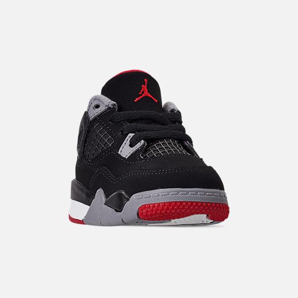 e653d5cc4cc Three Quarter view of Kids' Toddler Air Jordan Retro 4 Basketball Shoes in  Black/