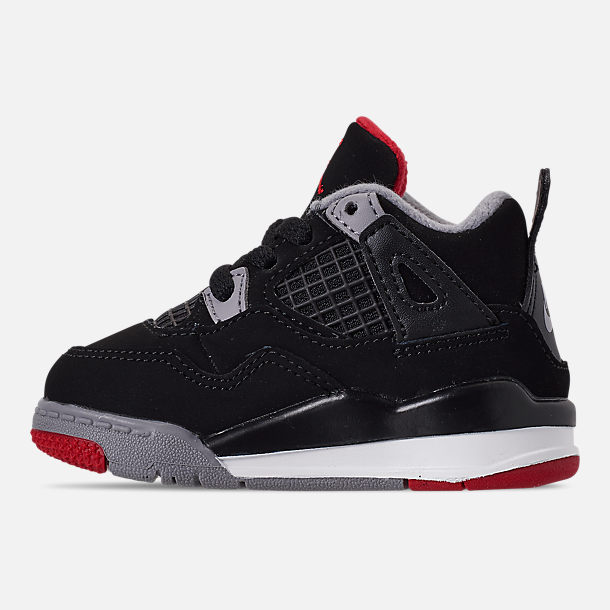 8a7fc7424e0ac1 Left view of Kids  Toddler Air Jordan Retro 4 Basketball Shoes in Black Fire