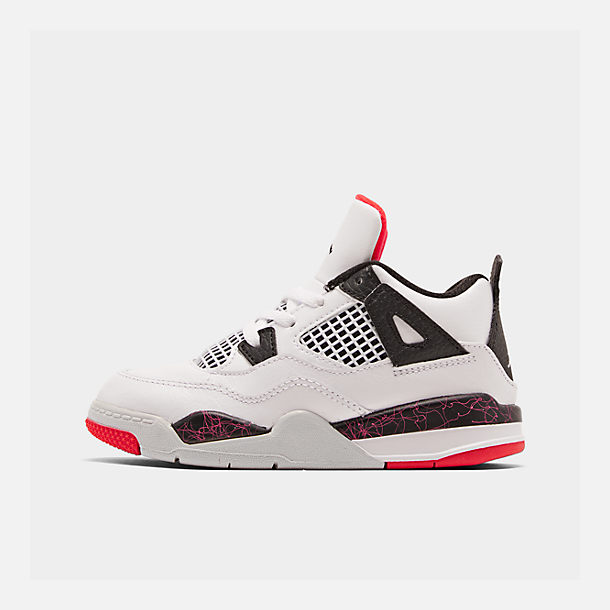 Right view of Kids' Toddler Air Jordan Retro 4 Basketball Shoes in White/Black/Bright Crimson/Pale Citron