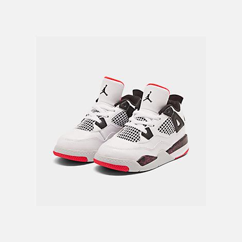 Three Quarter view of Kids' Toddler Air Jordan Retro 4 Basketball Shoes in White/Black/Bright Crimson/Pale Citron