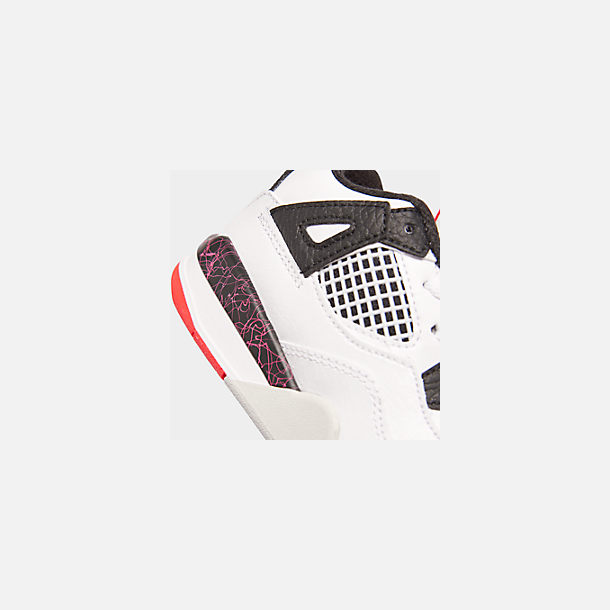 Front view of Kids' Toddler Air Jordan Retro 4 Basketball Shoes in White/Black/Bright Crimson/Pale Citron