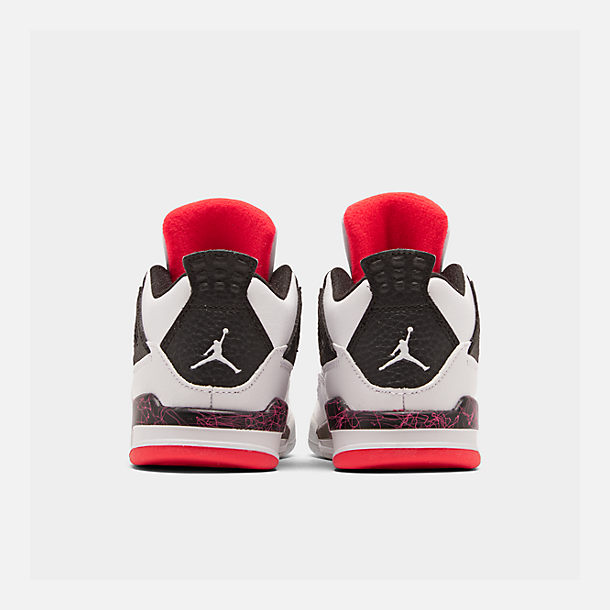 Left view of Kids' Toddler Air Jordan Retro 4 Basketball Shoes in White/Black/Bright Crimson/Pale Citron