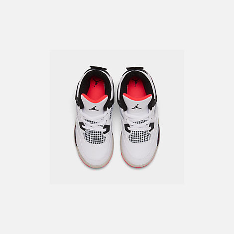 Back view of Kids' Toddler Air Jordan Retro 4 Basketball Shoes in White/Black/Bright Crimson/Pale Citron