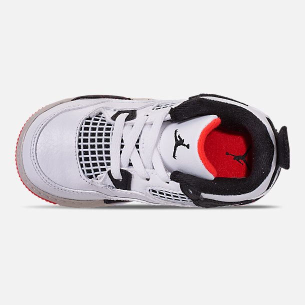 Top view of Kids' Toddler Air Jordan Retro 4 Basketball Shoes in White/Black/Bright Crimson/Pale Citron