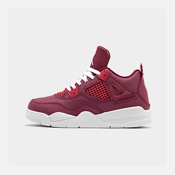 Right view of Girls' Little Kids' Air Jordan Retro 4 Basketball Shoes in True Berry/Rush Pink/White