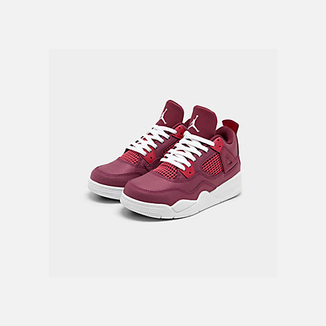 Three Quarter view of Girls' Little Kids' Air Jordan Retro 4 Basketball Shoes in True Berry/Rush Pink/White