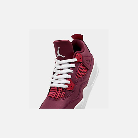 Front view of Girls' Little Kids' Air Jordan Retro 4 Basketball Shoes in True Berry/Rush Pink/White