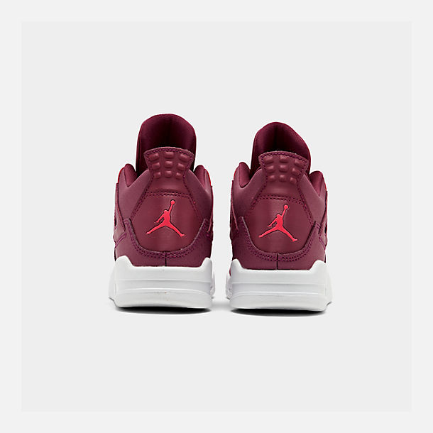 Left view of Girls' Little Kids' Air Jordan Retro 4 Basketball Shoes in True Berry/Rush Pink/White