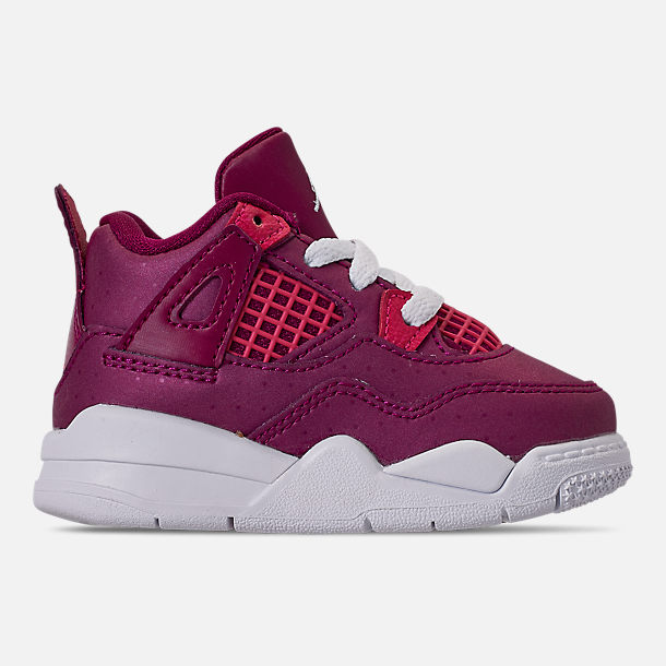 Right view of Girls' Toddler Air Jordan Retro 4 Basketball Shoes in True Berry/Rush Pink/White