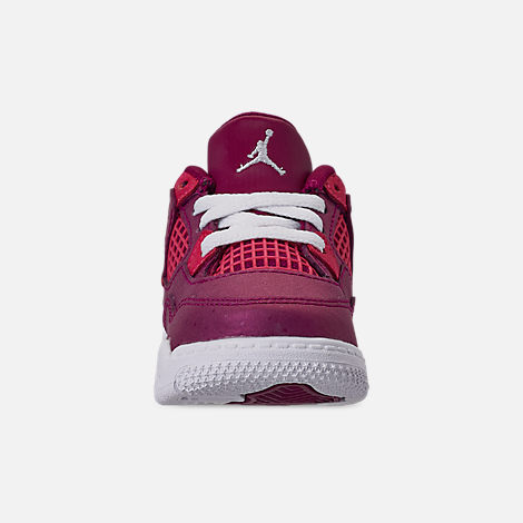Front view of Girls' Toddler Air Jordan Retro 4 Basketball Shoes in True Berry/Rush Pink/White