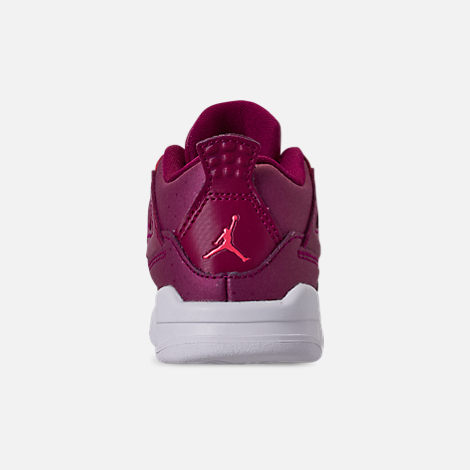 Back view of Girls' Toddler Air Jordan Retro 4 Basketball Shoes in True Berry/Rush Pink/White