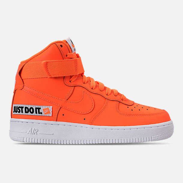 Right view of Women's Nike Air Force 1 High LX Leather Casual Shoes in Total Orange/Total Orange/White