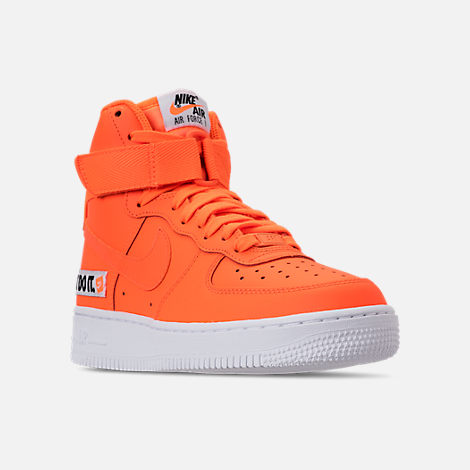 Three Quarter view of Women's Nike Air Force 1 High LX Leather Casual Shoes in Total Orange/Total Orange/White