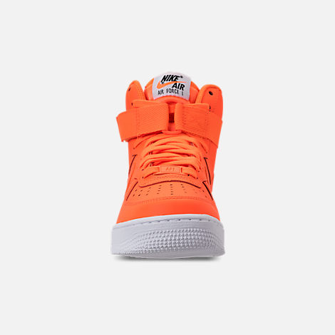 Front view of Women's Nike Air Force 1 High LX Leather Casual Shoes in Total Orange/Total Orange/White
