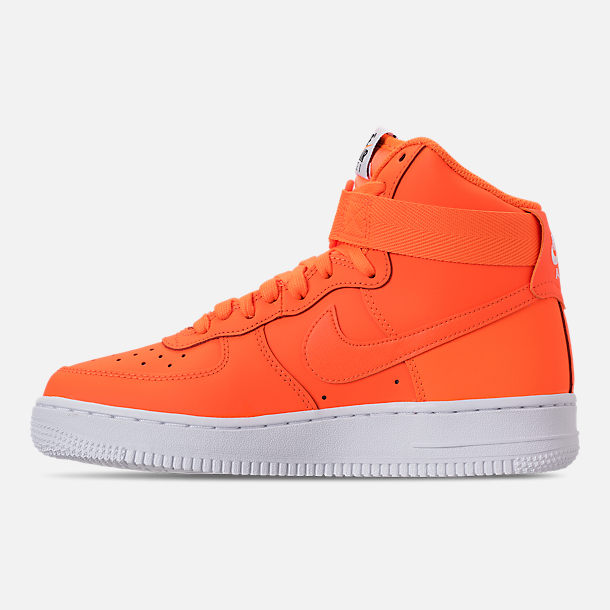 Left view of Women's Nike Air Force 1 High LX Leather Casual Shoes in Total Orange/Total Orange/White