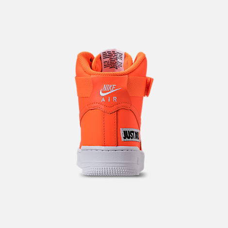 Back view of Women's Nike Air Force 1 High LX Leather Casual Shoes in Total Orange/Total Orange/White