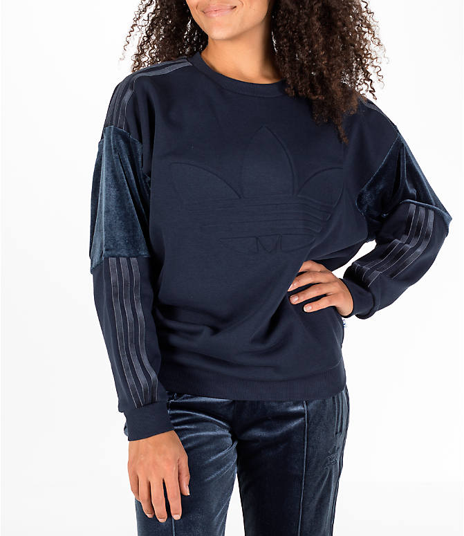 Front view of Women's adidas Originals Flock Sweater in Legend Ink